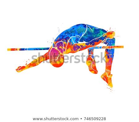 Man hoog springen track veld sport Stockfoto © leonido