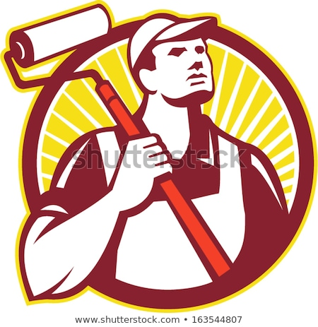 Tradesman holding a paint roller Stock photo © photography33