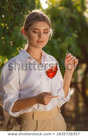 kobieta · szkła · wina · żywności · zabawy - zdjęcia stock © melpomene