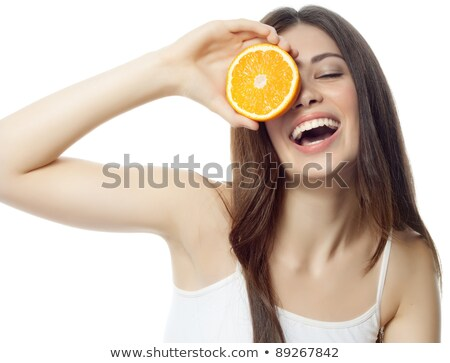 Stock fotó: Healthy eating, health care. Nutrition. Beauty woman,  lemon