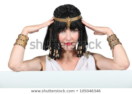Woman dressed in Egyptian outfit with message board Stock photo © photography33