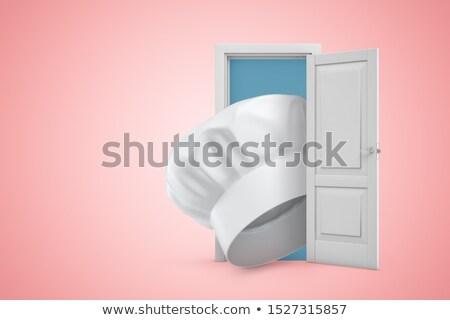 Chef deuropening gelukkig landschap home Blauw Stockfoto © photography33