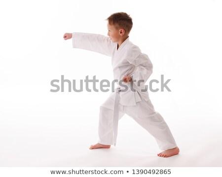 Karate fiú izolált fehér fitnessz testmozgás Stock fotó © get4net