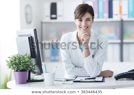 Confident, attractive doctor, hand on chin Stock photo © jarenwicklund
