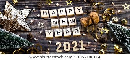 new year card with beautiful decoration ball stock photo © elmiko