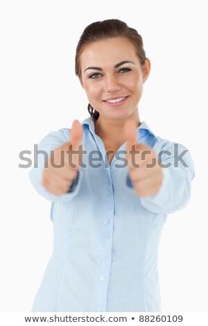 mosolyog · üzletasszony · mindkettő · remek · fehér · kéz - stock fotó © wavebreak_media