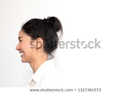 ritratto · ragazza · felice · piedi · up · bianco · sorriso - foto d'archivio © wavebreak_media