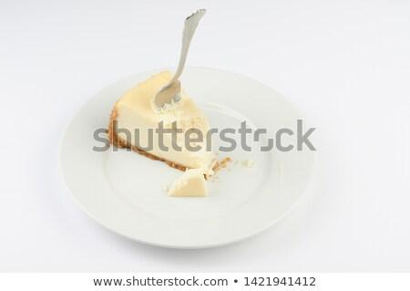 bolo · de · queijo · garfo · macro · imagem · completo · comida - foto stock © Gordo25