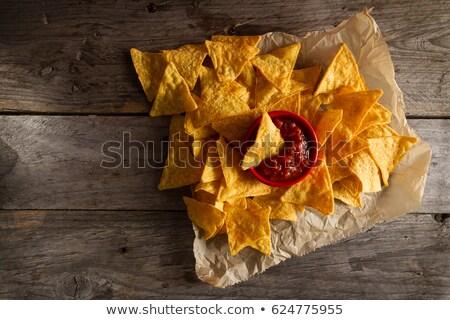 Gekruid tomatensaus tortilla chips voedsel Rood Stockfoto © M-studio