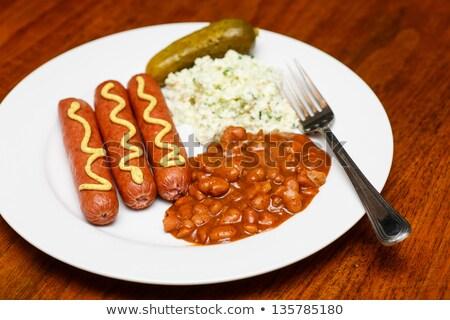 Feijões salada de repolho almoço tabela prato garfo Foto stock © dbvirago