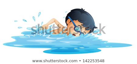 Blue child swim goggles and swimming clip isolated on white stock photo © alexandkz
