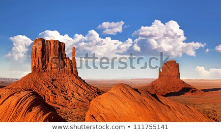 monument valley landscape with rock formations and blue sky stock photo © snyfer