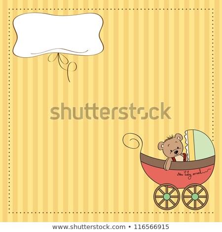 Stok fotoğraf: Komik · oyuncak · ayı · bebek · duyuru · kart · mutlu
