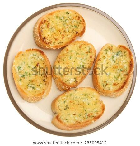 Pan de ajo sésamo blanco tejido desayuno tela Foto stock © Kheat