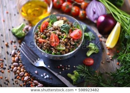 Lencse saláta étel vacsora paradicsom szakács Stock fotó © M-studio