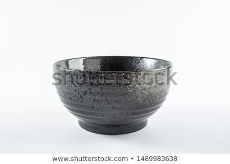 noir · céramique · bol · isolé · blanche · café - photo stock © snyfer