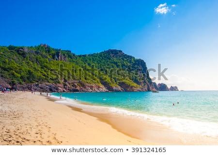 Сток-фото: Турция · пляж · мнение · город · деревья · синий