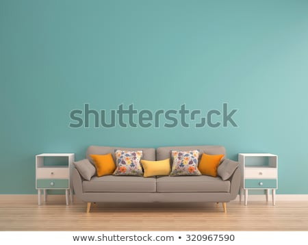 Red living room in retro style Stock photo © lordalea