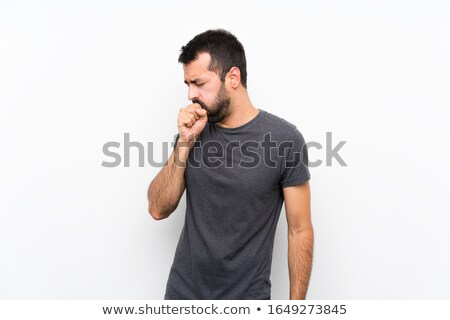 Stok fotoğraf: Young Ill Man Coughing Isolated Over White Background