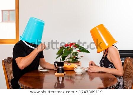 Balde cabeça mulher de negócios terno negócio mulher Foto stock © jayfish