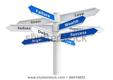Adósság vagyon ellenkező feliratok kettő kék ég Stock fotó © stevanovicigor