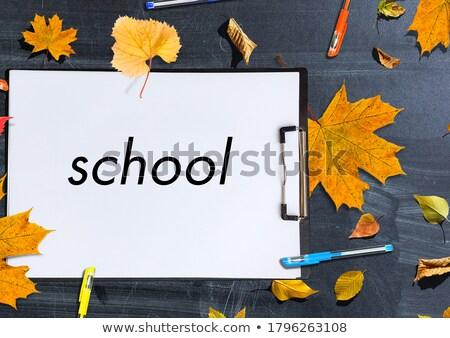 de · volta · à · escola · desenho · quadro-negro · enforcamento · parede · crianças - foto stock © cienpies