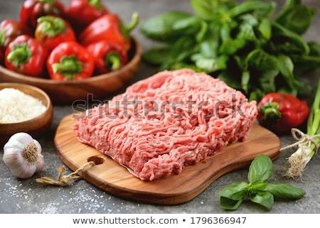 Et tay gıda plaka mutfak kırmızı Stok fotoğraf © prajit48