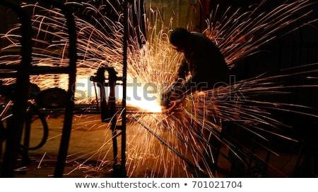 építőmunkás · fa · férfi · kaukázusi · biztonsági · szemüveg · munkavédelmi · sisak - stock fotó © ivonnewierink