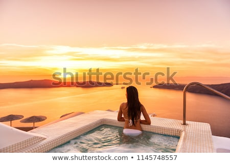 jacuzzi and a swimming pool at caribbean resort stock photo © kurhan
