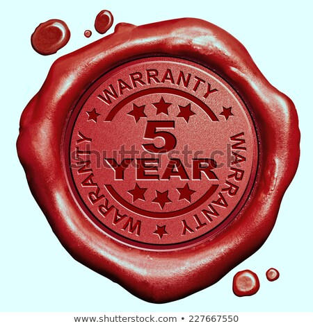 warranty 5 year   stamp on red wax seal stock photo © tashatuvango