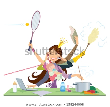 Foto stock: Busy Woman Doing Many Things At The Same Time