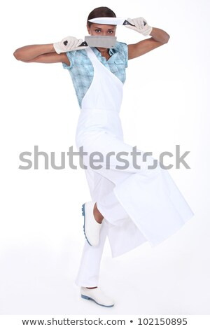 A butcher holding her paring knives Stock photo © photography33