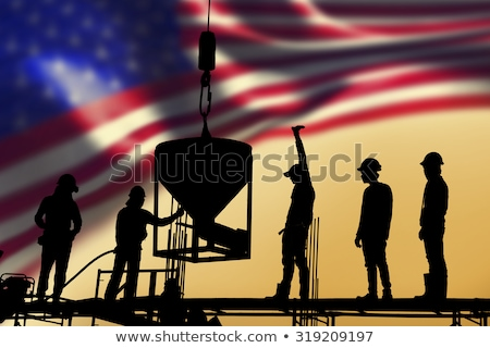 Group of construction workers with flag Stock photo © Kirill_M