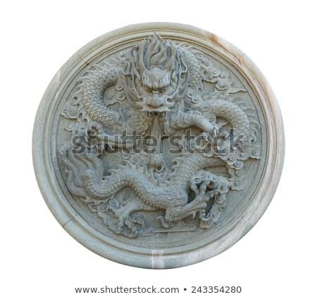 Stock photo: Chinese stone dragon statue