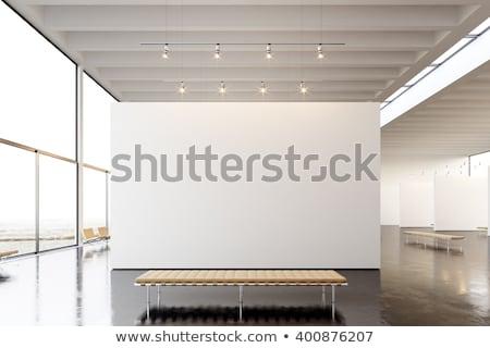 Foto stock: Moderno · interior · galeria · de · arte · quadro · projeto · prateleira