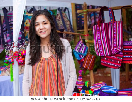 Teen girl shopping outdoor bazaar in Thailand Stock photo © jarenwicklund