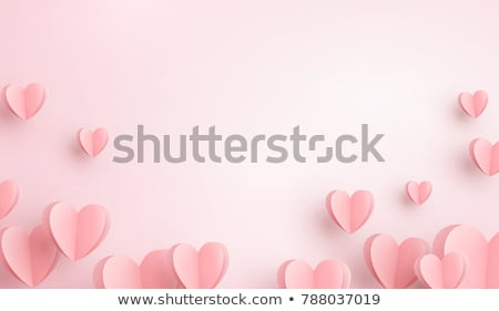 Valentines day paper hearts greeting card Stock photo © burakowski