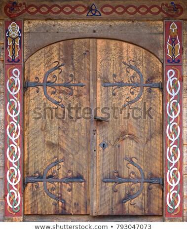 Viking deur middeleeuwse huis museum hout Stockfoto © Alenmax