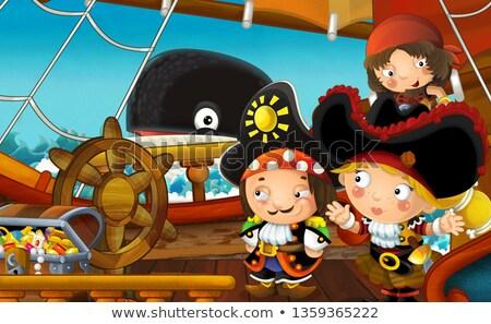 crâne · pirate · portrait · chapeau · oeil - photo stock © clairev