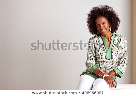 bella · donna · strisce · suit - foto d'archivio © dash