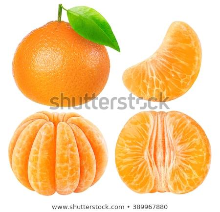 Hámozott mandarin mandarin gyümölcs fél izolált Stock fotó © natika