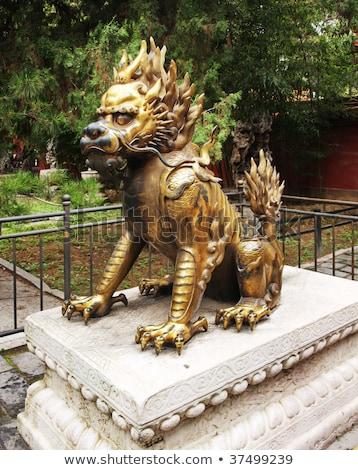 Pierre lion cité interdite entrée Voyage rouge Photo stock © anbuch