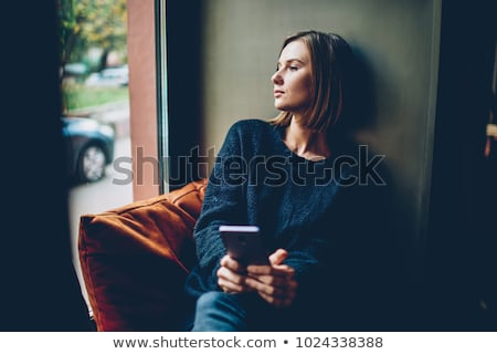 Młoda kobieta patrząc smutne niebieski panoramiczny smutek Zdjęcia stock © bmonteny