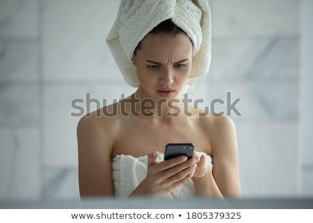 piękna · młoda · kobieta · kąpieli · ręcznik · stałego · łazienka - zdjęcia stock © dash