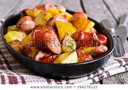 gorduroso · fumado · frito · carne · de · porco · carne · carne - foto stock © yelenayemchuk