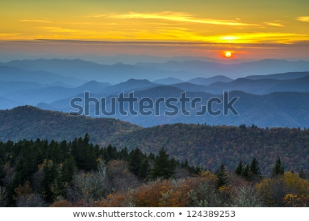 blue ridge parkway autumn sunset over appalachian mountains stock photo © alex_grichenko