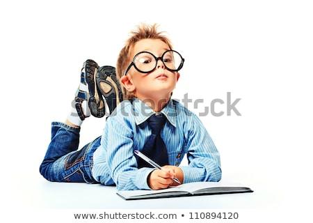 Yalıtılmış zeki çocuk sarışın küçük erkek Stok fotoğraf © Dave_pot