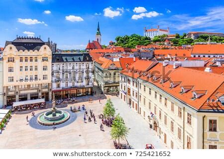 Foto stock: Bratislava · Eslováquia · panorâmico · ver · castelo · cidade · velha