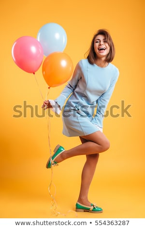 young beautiful caucasian woman with balloons Stock photo © ambro