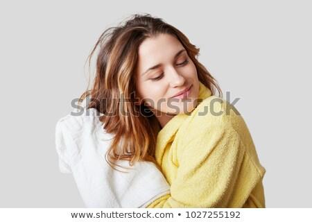donna · sorridente · bagno · asciugamano · testa · occhi - foto d'archivio © pressmaster